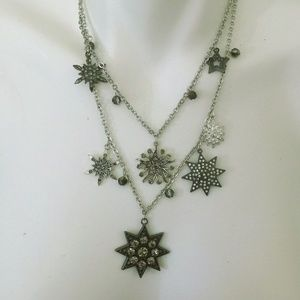 NWT LOFT Statement Silver Rhinestone Necklace